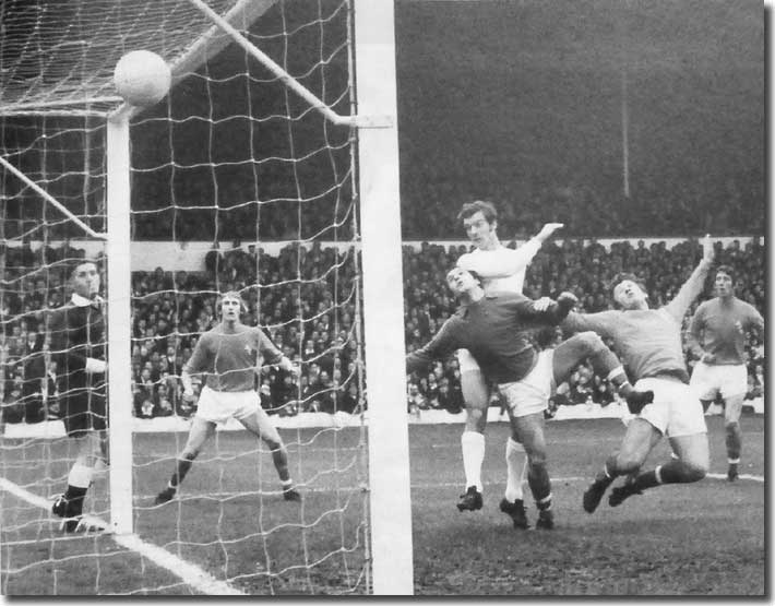 Paul Madeley nods home a goal against Blackpool on 14 November