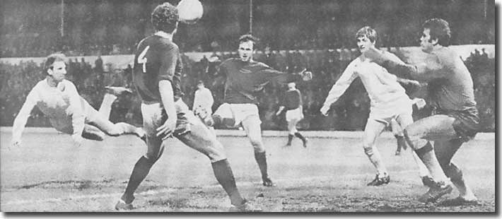 Jack Charlton nods home United's sixth against Sparta Prague