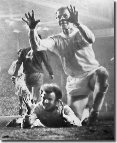 It's a glorious feeling for Billy Bremner and Jack Charlton after the skipper's goal at Anfield