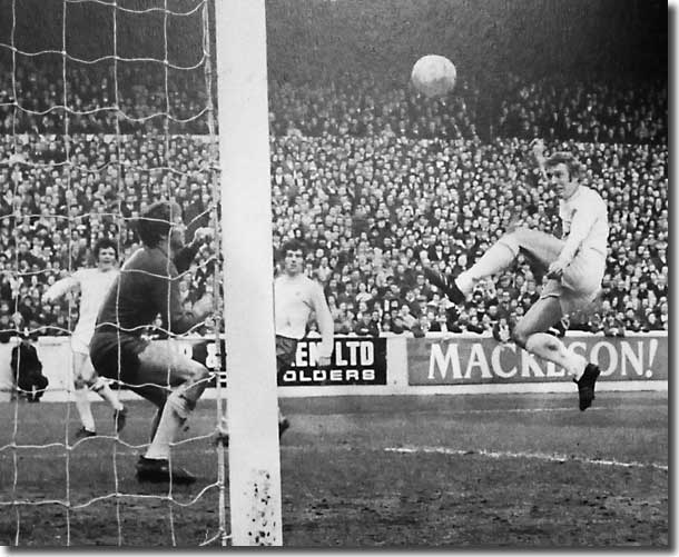 Mick Jones nods home a cross from Eddie Gray during the defeat to West Brom but the goal was disallowed for offside