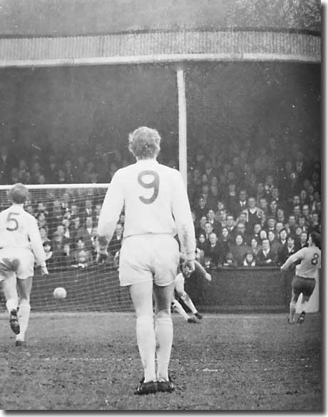 Mick Jones can only look on while Jack Charlton makes a vain effort to get back as Tony Brown squares the ball to Jeff Astle for a controversial goal by Albion