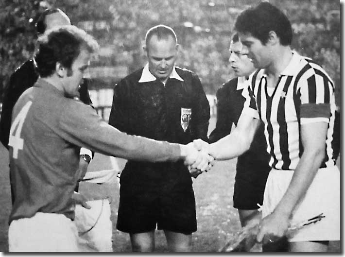 Billy Bremner shakes hands with Juve captain Sandro Salvadore before the first leg of the Fairs Cup final in Turin