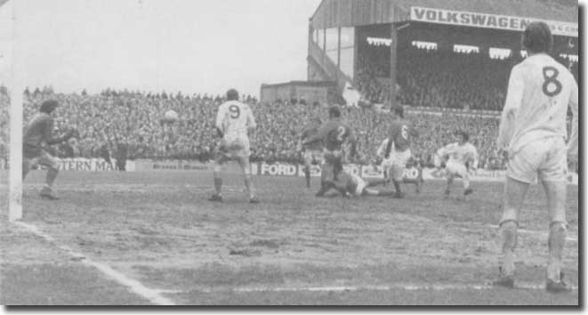 Johnny Giles scores his and United's second against Cardiff