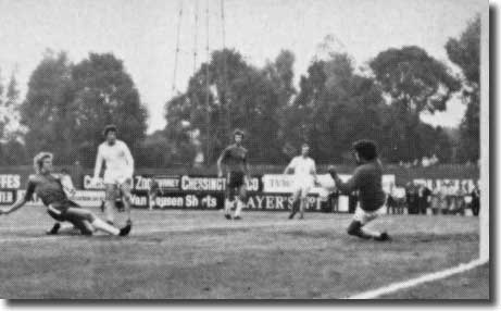 Chris Garland makes it 3-0 for Chelsea with makeshift goalkeeper Peter Lorimer helpless