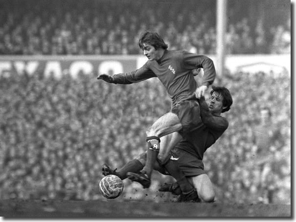 Allan Clarke is tackled by Derby's Ron Webster