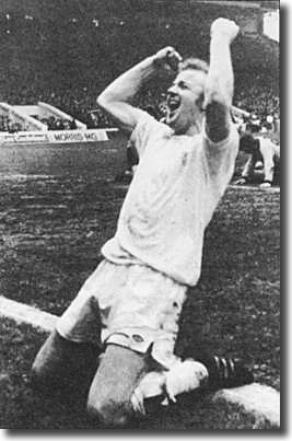 Billy Bremner celebrates his winner against Wolves