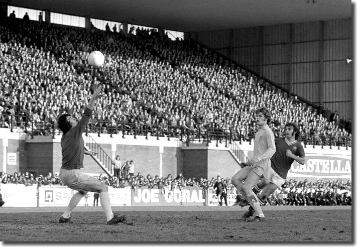 Bristol City's Keith Fear gets the better of both Gordon McQueen and David Harvey to equalise at Ashton Gate