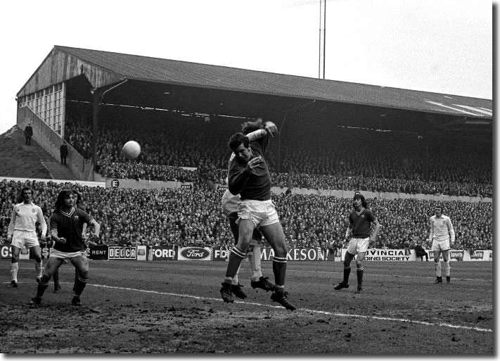 Bristol keeper Ray Cashley tangles with Roy Ellam at Elland Road