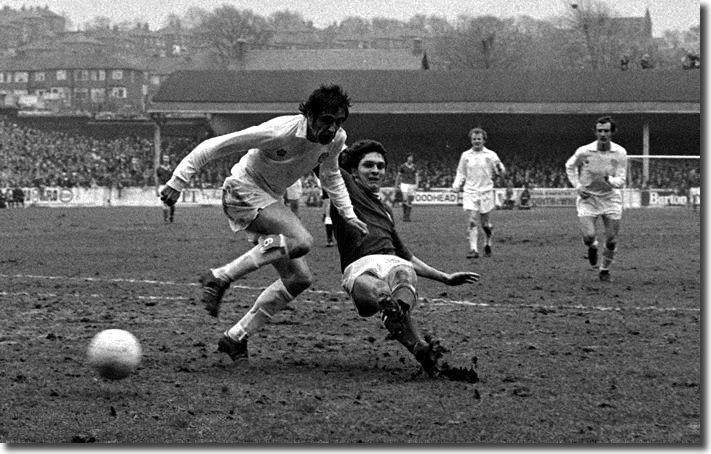 Don Gillies manages to strike the winning goal at Elland Road just before Norman Hunter can get there
