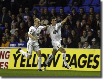 Two of the new guns - Matthew Kilgallon and Simon Walton celebrate Walton's early goal at Reading on October 19 2004