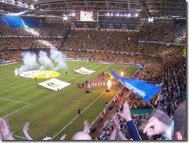 The players are welcomed into the breathtaking Millennium Stadium arena