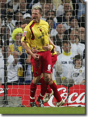 Jay DeMerit celebrates scoring the first goal for Watford
