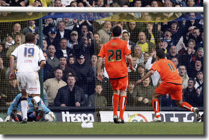 Casper Ankergren saves a penalty from Luton Town's Dean Morgan late in the vital win on 10 March