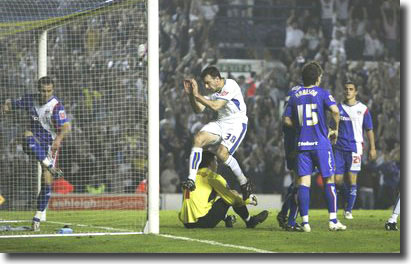 Dougie Freedman celebrates scoring a dramatic late goal against Carlisle in the first leg at Elland Road