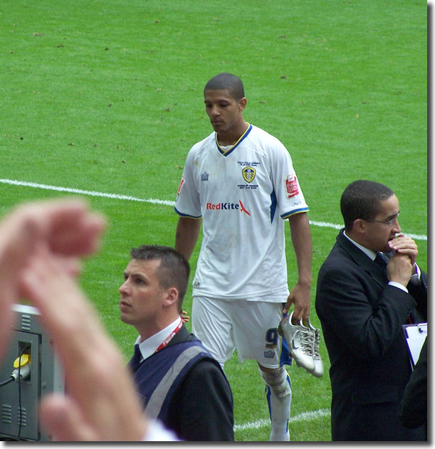 A disconsolate Jermaine Beckford after the play-off final defeat to Doncaster, about to throw his boots to the fans