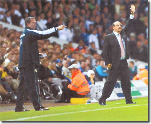 The two managers during the game - many thought Grayson had outmanoeuvred Benitez on the night - he certainly emerged with great credit
