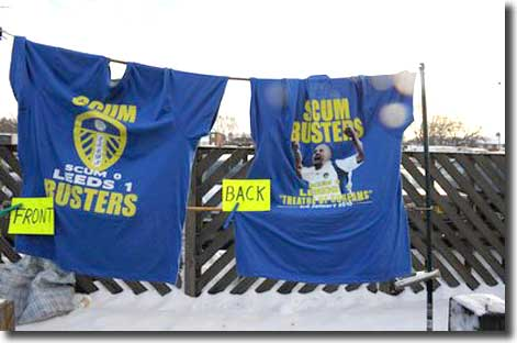 'Scum Busters' T shirts commemorating the Old Trafford victory on sale at Elland Road before the game with Wycombe