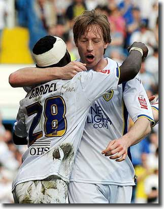 Max Gradel celebrates with Luciano Becchio after scoring the first goal against Southend the previous weekend