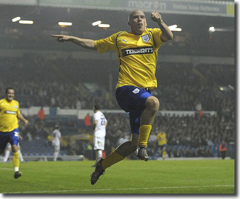 Iain Hume celebrates after heading Preston's sixth goal
