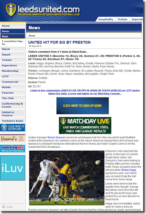 The United website features a depressing evening