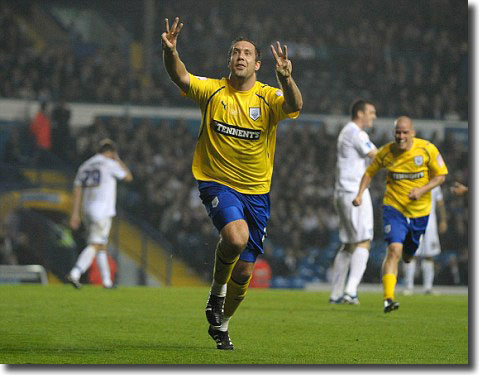 Preston's burly hit man Jon Parkin celebrates his astonishing hat trick
