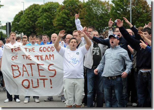 United fans protest during the 13 August match with Middlesbrough - Ken Bates branded them morons and claimed the protest cost the club a £20m investment