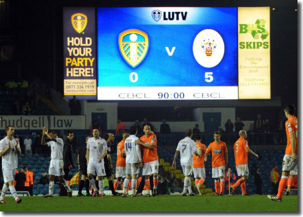 The Elland Road scoreboard says it all on a grim evening