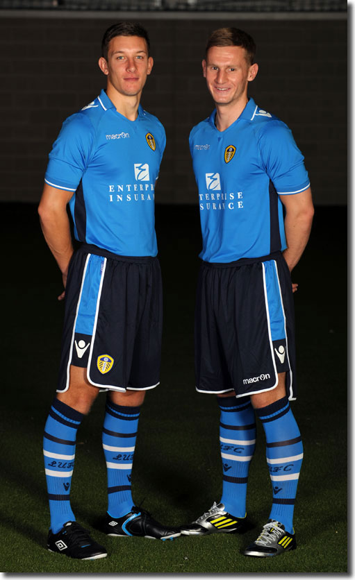 New signing Jason Pearce and Tom Lees model the new away kit
