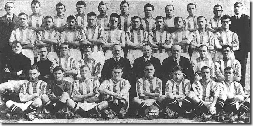 The 1923-24 squad Back: Murrell (Trainer), Bell, Coates, Robson, Armand, Menzies, Flood, Gordon, Noble, Duffield, Ure (Ass Trainer). Second: L Baker, Frew, Smith, Hart, Morris, Bell, Swan, Baker, Gascoigne, Harris Third: Whalley, Johnson, Sherwin, Poyntz, Norman (Ass Manager), Crowther (Chairman), Fairclough (Manager), Richmond, Powell Front: Fullam, Down, Lambert, Mason, J Baker (captain), Allen, Whipp, Speak