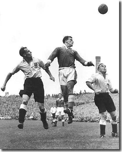 John Charles outjumps the England defence for Wales in October 1953 - Billy Wright is the player on the right