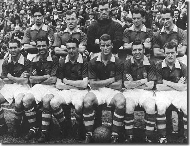 John Charles was captain of this 1955-56 Leeds side which won promotion - Back: Kerfoot, Dunn, Wood, Gibson, Hair. Front: Williams, Nightingale, Brook, Charles, Henderson, Meek