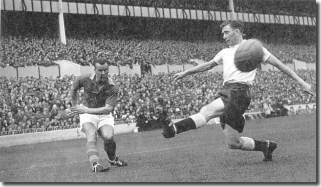Charles turns provider of chances as he whips in a cross past Spurs captain Danny Blanchflower in 1956-57