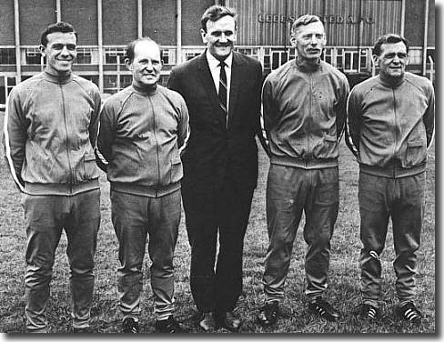 Don Revie with his backroom staff - Cyril Partridge (reserve team trainer), Bob English (physio), Syd Owen (chief coach) and Les Cocker (first team trainer-coach) - Owen was the man behind Revie's beloved dossiers