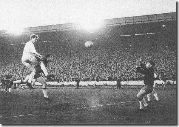 Jack Charlton heads the winning goal in the 2-1 triumph over Real Zaragoza in the Fairs Cup semi-final second leg match - United's first season in European competition