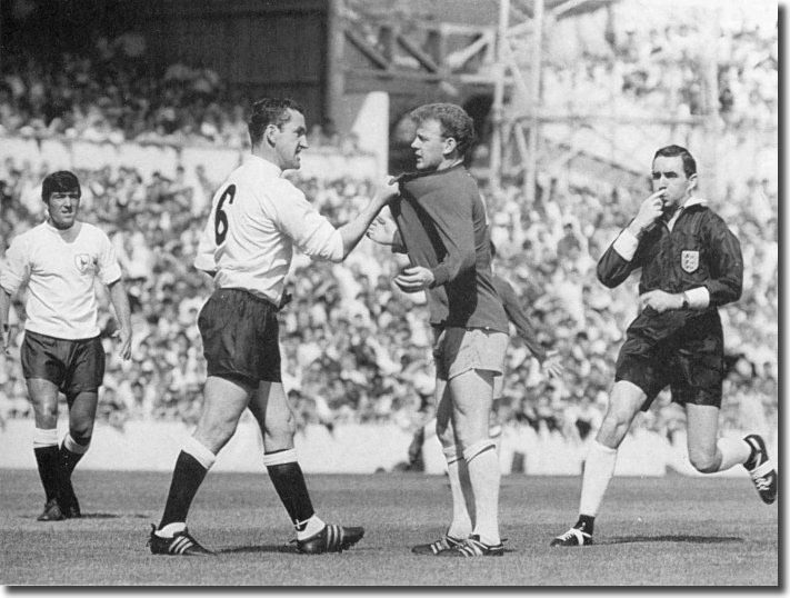 Dave Mackay of Spurs confronts Billy Bremner at White Hart Lane in August 1966 - an iconic memory of football in the Sixties