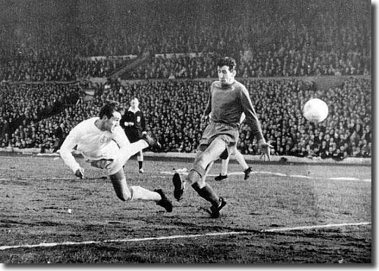 Rod Belfitt dives to head one of his three goals against Kilmarnock in the Fairs Cup semi final in May 1967