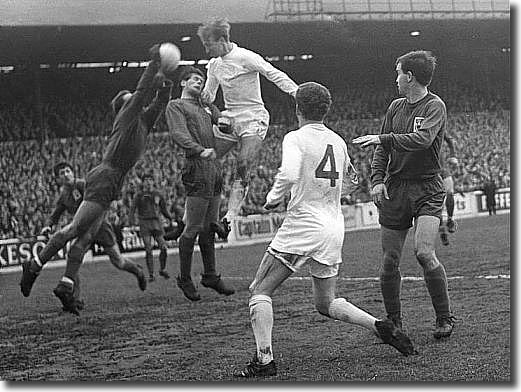 Matthews and O'Hare of Derby defy Jack Charlton with Billy Bremner looking on during the League Cup clash on 17 January