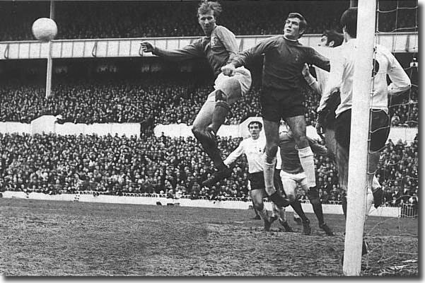 Jack Charlton in goalmouth action against Pat Jennings and Spurs January 1969