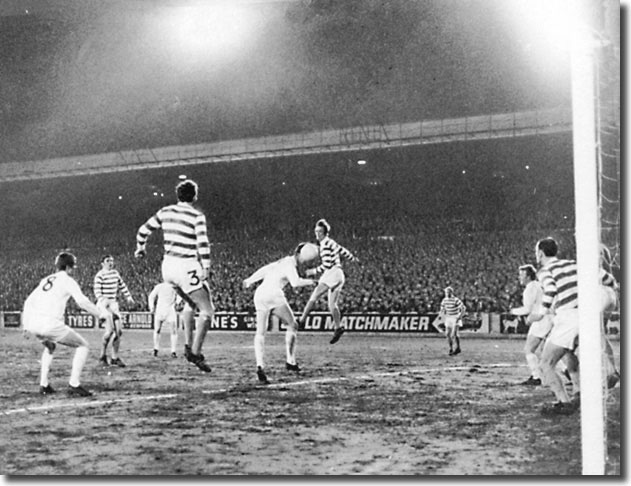 Jack Charlton gets a header in but it ran wide of goal