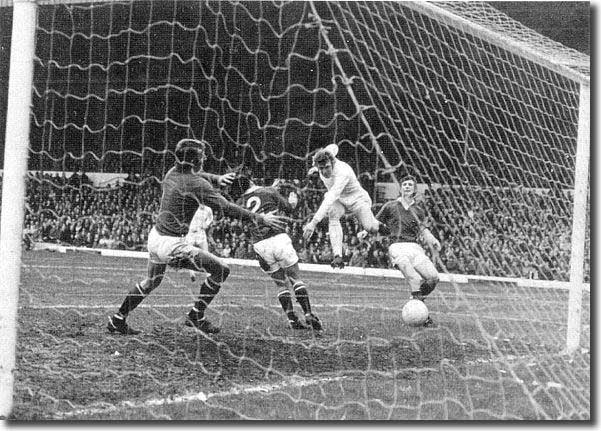 Mick Jones scores one of five Leeds goals against Manchester United in February 1972