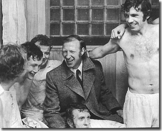Celebrations following the FA Cup Semi Final win over Wolves April 1973.  Jack Charlton was taken off injured after half an hour
