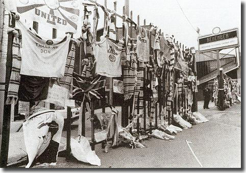 The gates of Elland Road draped with supporters' scarves as a tribute to Don Revie after his death in May 1989