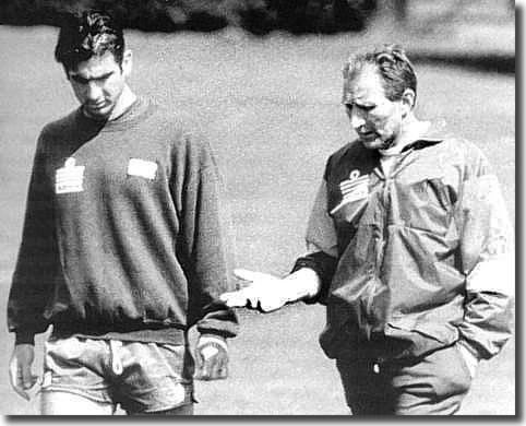Cantona deep in conversation with his first British manager, Howard Wilkinson, who brought him to Leeds in 1992