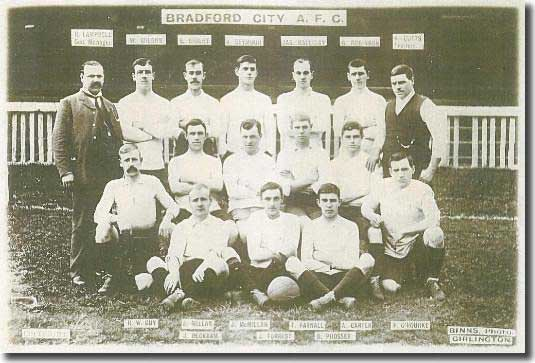 A Bradford City team group from 1903 - manager Robert Campbell is standing far left, George Robinson is second from the right at the back, James Millar and John McMillan are on the left of the middle row with Peter O'Rourke kneeling on the right