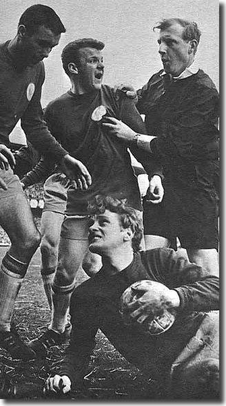Billy Bremner protests to a referee - the Scot was often in trouble with officialdom in the mid-Sixties and faced suspension after a booking against Northampton - Don Revie took a step too far in trying to protect him