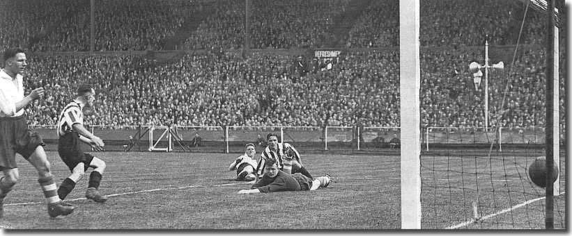Raich Carter, immediately behind the Preston keeper, scores Sunderland's second goal in the 1937 FA Cup final