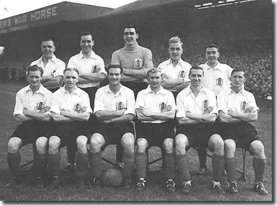Carter is seated second from left at the front in the first England side after the war - Back: Laurie Scott, Neil Franklin, Frank Swift, Billy Wright, Henry Cockburn. Front: Tom Finney, Carter, George Hardwick, Wilf Mannion, Tommy Lawton and Bobby Langton