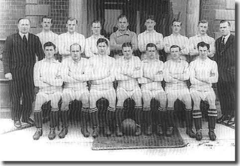 Chapman standing far left with his Huddersfield side in 1922