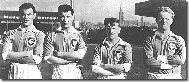 John and Mel Charles with Len and Ivor Allchurch, two sets of outstanding Swansea born bothers and Welsh internationals