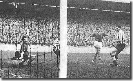 Charles fires home one of his two goals in his last game for Leeds against Sunderland